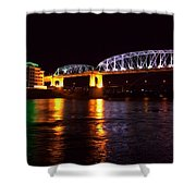 Shelby Street Bridge At Night Shower Curtain by Dan Sproul