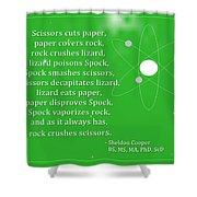 Sheldon Cooper - Rock Paper Scissors Lizard And Spock Shower Curtain