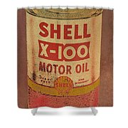 Shell Motor Oil Shower Curtain by Michelle Calkins