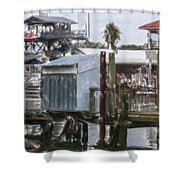 Shem Creek Dockage Shower Curtain