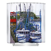 Shem Creek Shrimp Boats Shower Curtain