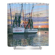 Shem Creek Shrimpers Charleston  Shower Curtain by Richard Harpum