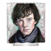 Sherlock Holmes Portrait Benedict Cumberbatch Shower Curtain by Olga Shvartsur