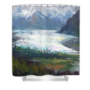 Shifting Light - Matanuska Glacier Shower Curtain