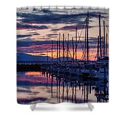 Shilshole Olympic Mountains Sunset Shower Curtain