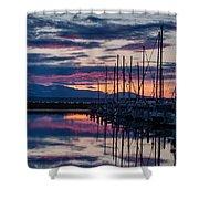 Shilshole Olympic Mountains Sunset Vertical Shower Curtain