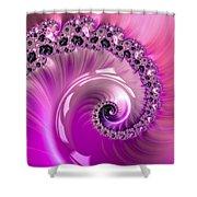 Shiny Pink Fractal Spiral Shower Curtain