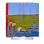 Ship At The End Of Water Street In Saint John's-nl Shower Curtain