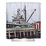 Ship Docked In Lunenburg-ns Shower Curtain