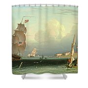 Ship Going Out, Fort Independence Shower Curtain
