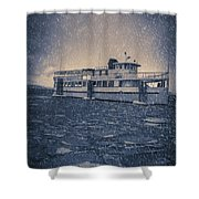 Ship In A Snowstorm Shower Curtain