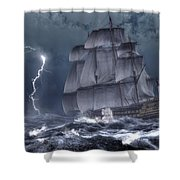 Ship In A Storm Shower Curtain