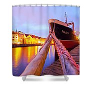 Ship In Harbor Shower Curtain
