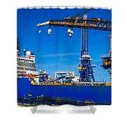 Ship In Port Shower Curtain