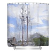 Ship In The Harbor Shower Curtain