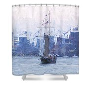 Ship Through The Haze Shower Curtain