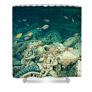 Ship Wreck With Motorbikes Shower Curtain