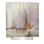 Shipping In The Solent 19th Century Shower Curtain