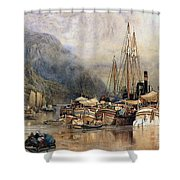 Shipping On The Hudson River Shower Curtain by Samuel Colman