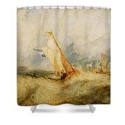 Ships A Sea Getting A Good Wetting Shower Curtain