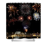 Ships And Fireworks Shower Curtain