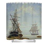Ships In A Dutch Estuary Shower Curtain