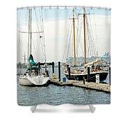Ships In Newport Harbor Shower Curtain