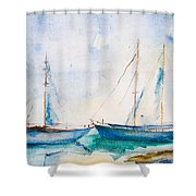 Ships In The Sea Shower Curtain