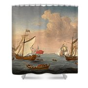 Ships In The Thames Estuary Near Sheerness Shower Curtain