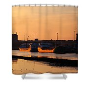 Ships Moored At The New Docking Shower Curtain