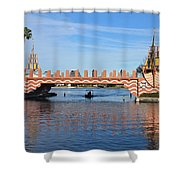 Ships On Waves Bridge Shower Curtain