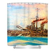 Ship's Portrait - Hms Dreadnought 1908 Shower Curtain by Marco Macelli