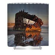 Shipwreck At Sunset Shower Curtain