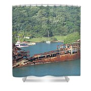 Shipwreck Of Roatan Honduras Shower Curtain