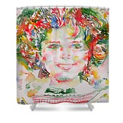 Shirley Temple - Watercolor Portrait.1 Shower Curtain