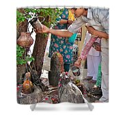 Morning Offerings At A Shiva Temple - India Shower Curtain