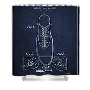 Shoe Eyelet Patent From 1905 - Navy Blue Shower Curtain