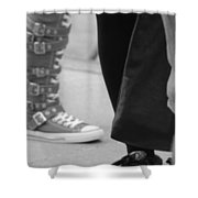 Shoes In Black And White Shower Curtain