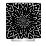 Shooting Star Black And White Kaleidoscope Shower Curtain