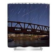 Shooting Star Over Bridge Shower Curtain