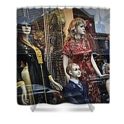 Shop Window Display Of Mannequins Shower Curtain