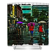 Shopping In The Rain - Knoxville Shower Curtain