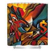 Shopping Shower Curtain by Leon Zernitsky