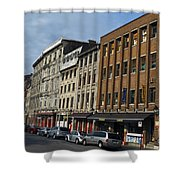 Shops And Buildings Along Rue Saint-paul Old Montreal Shower Curtain