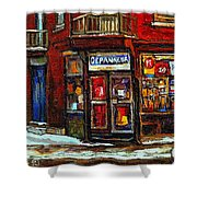 Shops And Streets Of St Henri- Montreal Paintings Depanneur Coca Cola Winter City Scenes Shower Curtain