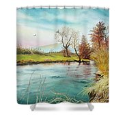 Shore Of The River Shower Curtain