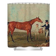 Shoveller Held By Her Trainer Will Chifney Shower Curtain by Benjamin Marshall
