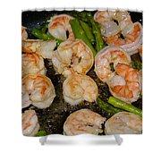 Shrimp And Asparagus Shower Curtain