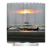 Shrimp Boat At Sunrise Shower Curtain