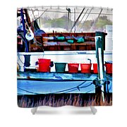 Shrimp Boat Buckets Shower Curtain